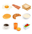 set of isometric food scrambled eggs yolk vector image vector image