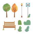 set park elements icons vector image