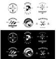 set vintage barber shop emblems and badges vector image