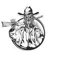 sketch robot cowbow vector image vector image