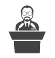 Speaker at rostrum - man in glasses at tribune vector image vector image