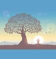 sunrise tree yoga vector image vector image