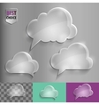 Three types of glass speech bubble cloud icons vector image