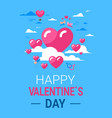 valentines day greeting card pink hearts over vector image vector image