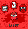hobby flat concept icons vector image