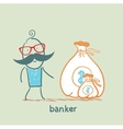 banker with a sack of money vector image vector image