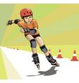 boy runs a roller skatecross vector image vector image