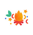 burning bonfire campfire camping scouting vector image