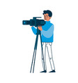 camera operator in blue sweater holding video vector image vector image