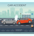 car accident on the road vector image vector image