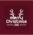 christmas greetings card with dark red background vector image vector image