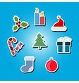 color icons with Christmas symbols vector image vector image