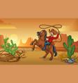 cowboy riding horse in desert vector image vector image