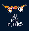 dia de los muertos or halloween greeting card vector image vector image