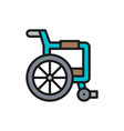 disabled carriage wheelchair flat color line icon vector image