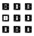 Door icons set grunge style vector image vector image