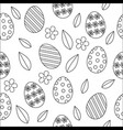 easter seamless pattern cute outline black and vector image