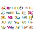 English alphabet for children with cute animals vector image