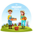 farmer man and woman with garden harvest vector image