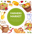 farmers market banner template poster with vector image