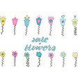 flower doodle and sale of flowers lettering phrase vector image vector image