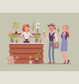 flower shop lady sells and arranges cut flowers vector image vector image