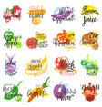 fruits fruity eco food apple banana vector image