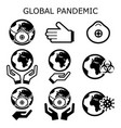 global pandemic icons set protecting vector image vector image