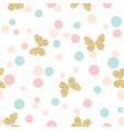 gold glittering butterflies seamless pattern vector image