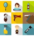 Hair cut icons set flat style vector image vector image
