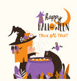 halloween witch cooks a magic potion in a cauldron vector image