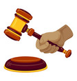 hand hold gavel icon cartoon style vector image