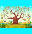 happy tree in the countryside vector image vector image