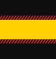 horizontal warning banner frame red yellow black vector image