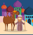 joseph with camel in village manger nativity vector image vector image