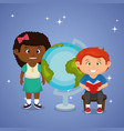 little school kids couple with world planet vector image