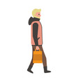 man with bag walking poster vector image