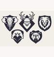 mascot animals emblems set vector image