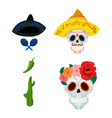 mexican sugar skull and objects for vector image vector image