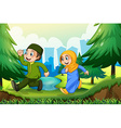 Muslim boy and girl in the park vector image