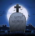 old gravestone at night with happy halloween word vector image vector image