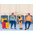 people in airport men and woman sitting with vector image
