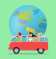 people traveling by minibus vector image
