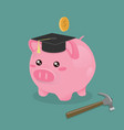 piggy bank and hammer vector image vector image