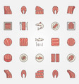 red fish colorful icons salmon or trout vector image