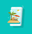 resort scene on mobile phone screen vector image vector image