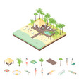 rest house and elements concept 3d isometric view vector image