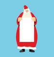 santa claus and blank sheet template isolated vector image vector image