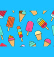 seamless pattern with colorful different ice cream vector image vector image
