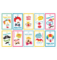 set of gift tags with purim costumes props vector image